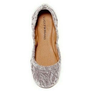 Lucky Brand Shoes - NEW Lucky Brand Crushed Velvet Flats Silver Mist